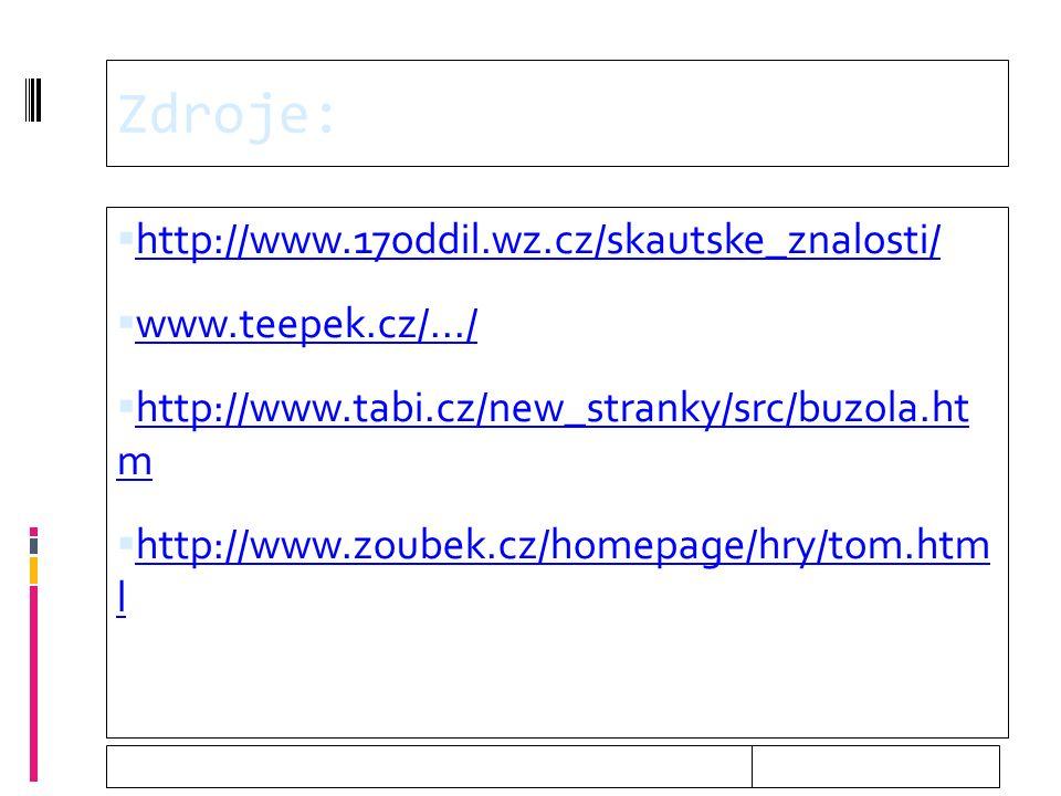 28.9.2016 Zdroje:  http://www.17oddil.wz.cz/skautske_znalosti/ http://www.17oddil.wz.cz/skautske_znalosti/  www.teepek.cz/.../ www.teepek.cz/.../  http://www.tabi.cz/new_stranky/src/buzola.ht m http://www.tabi.cz/new_stranky/src/buzola.ht m  http://www.zoubek.cz/homepage/hry/tom.htm l http://www.zoubek.cz/homepage/hry/tom.htm l