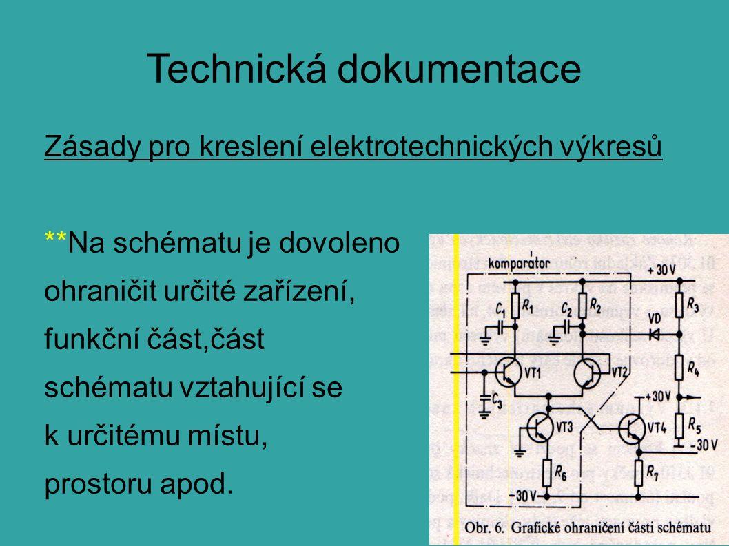 Technická dokumentace Zásady pro kreslení elektrotechnických výkresů **Na schématu je dovoleno ohraničit určité zařízení, funkční část,část schématu vztahující se k určitému místu, prostoru apod.