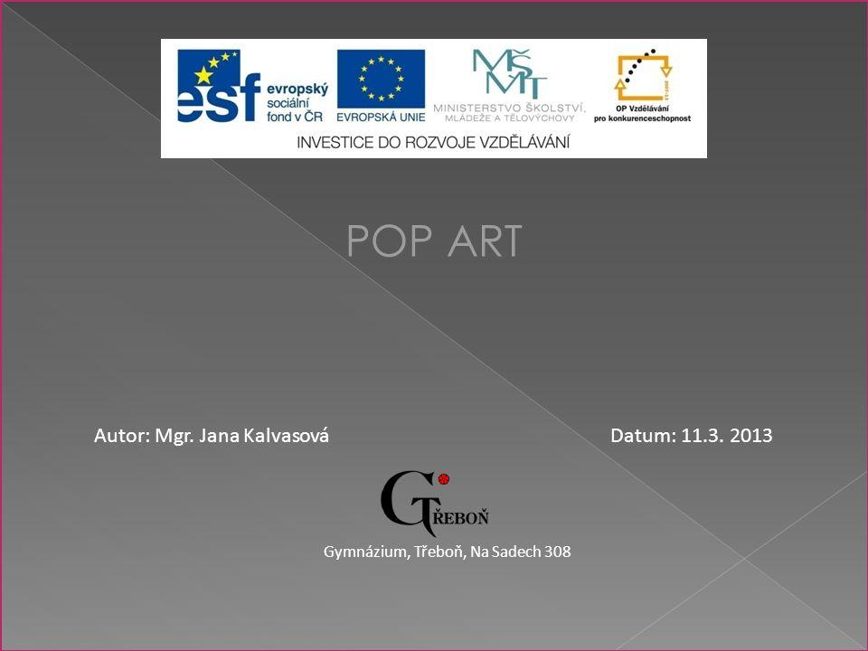 POP ART Autor: Mgr. Jana KalvasováDatum: 11.3. 2013 Gymnázium, Třeboň, Na Sadech 308