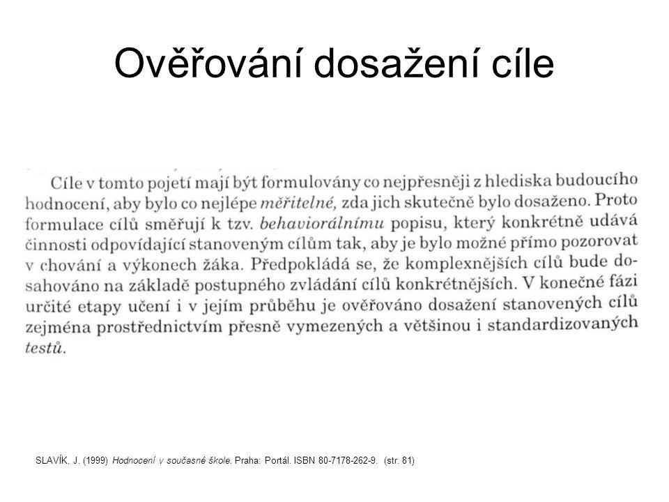 Ověřování dosažení cíle SLAVÍK, J. (1999) Hodnocení v současné škole.