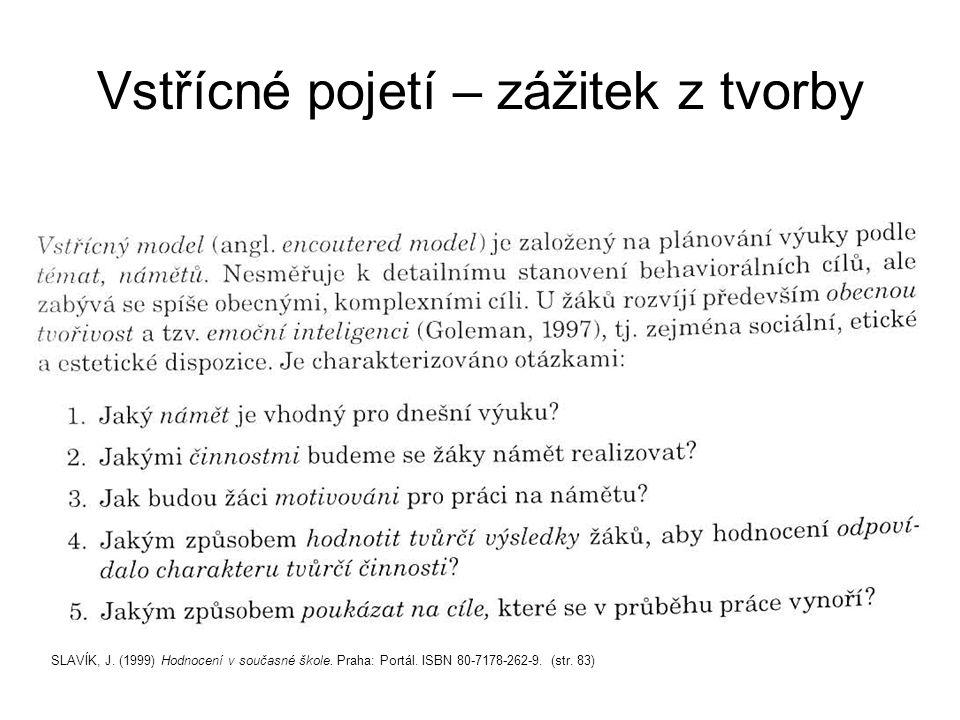 Vstřícné pojetí – zážitek z tvorby SLAVÍK, J. (1999) Hodnocení v současné škole.
