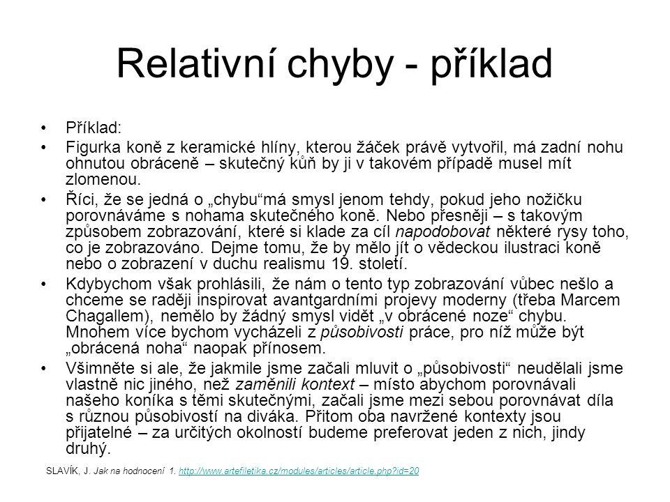 Příklad metodického postupu SLAVÍK, J.(1999) Hodnocení v současné škole.