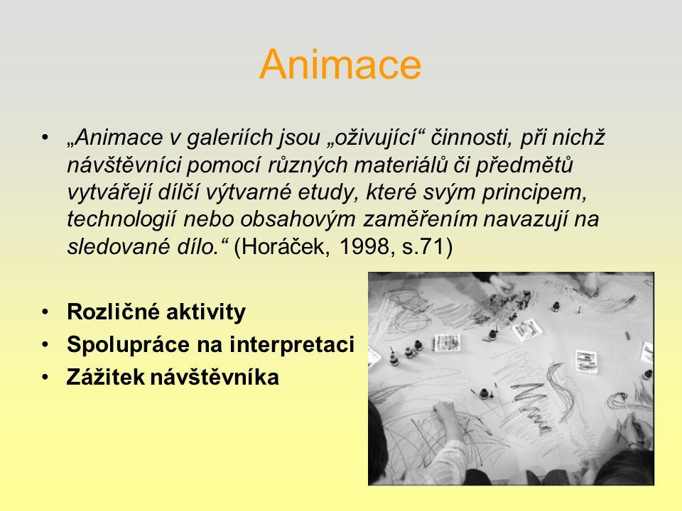 """Animace """"Animace v galeriích jsou """"oživující činnosti, při nichž návštěvníci pomocí různých materiálů či předmětů vytvářejí dílčí výtvarné etudy, které svým principem, technologií nebo obsahovým zaměřením navazují na sledované dílo. (Horáček, 1998, s.71) Rozličné aktivity Spolupráce na interpretaci Zážitek návštěvníka"""