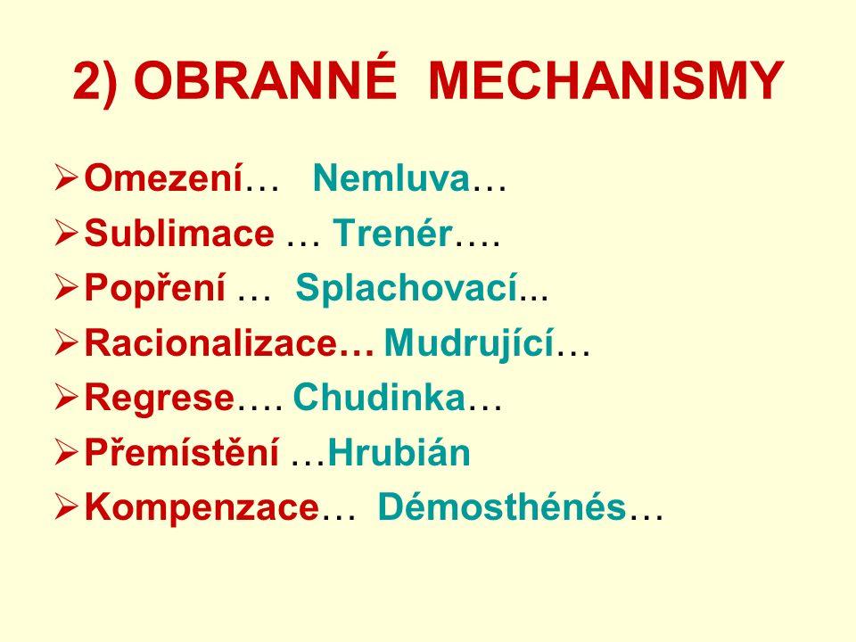 2) OBRANNÉ MECHANISMY  Omezení… Nemluva…  Sublimace … Trenér….  Popření … Splachovací...  Racionalizace… Mudrující…  Regrese…. Chudinka…  Přemís