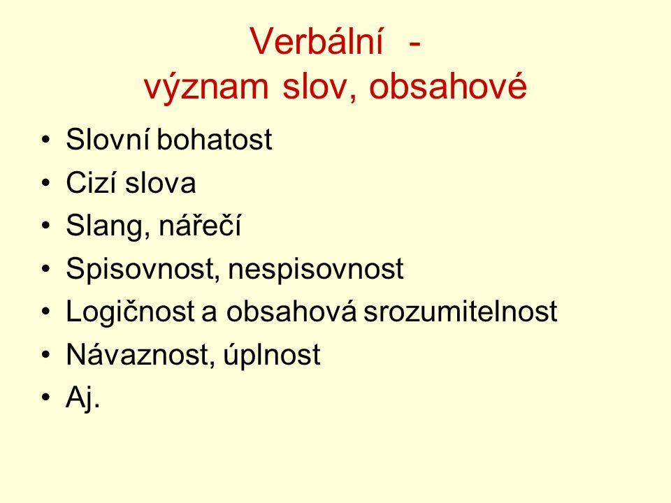 Verbální - význam slov, obsahové Slovní bohatost Cizí slova Slang, nářečí Spisovnost, nespisovnost Logičnost a obsahová srozumitelnost Návaznost, úpln