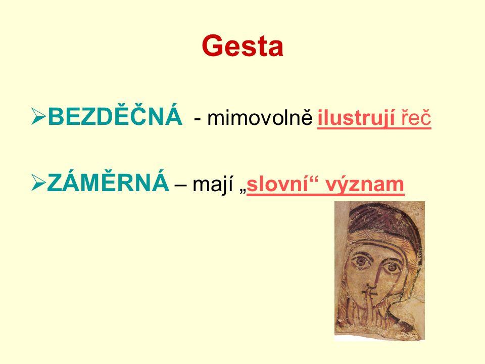 """Gesta  BEZDĚČNÁ - mimovolně ilustrují řeč  ZÁMĚRNÁ – mají """"slovní"""" význam"""