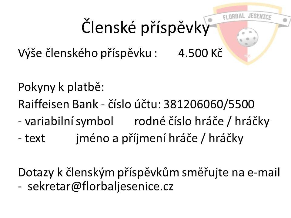 Členské příspěvky Výše členského příspěvku : 4.500 Kč Pokyny k platbě: Raiffeisen Bank - číslo účtu:381206060/5500 - variabilní symbolrodné číslo hráče / hráčky - textjméno a příjmení hráče / hráčky Dotazy k členským příspěvkům směřujte na e-mail - sekretar@florbaljesenice.cz