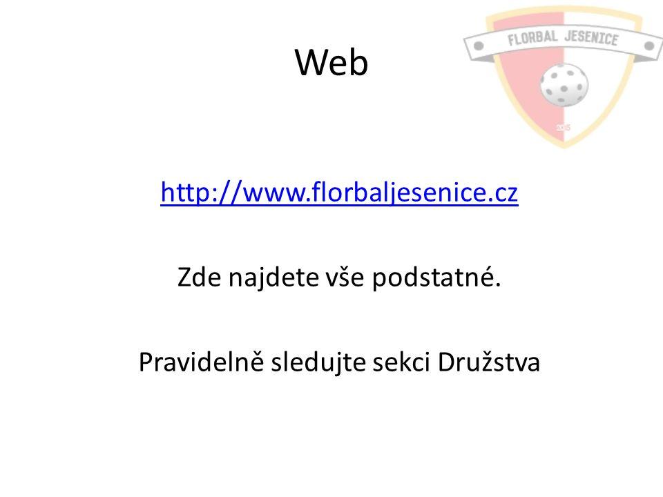 Web http://www.florbaljesenice.cz Zde najdete vše podstatné. Pravidelně sledujte sekci Družstva