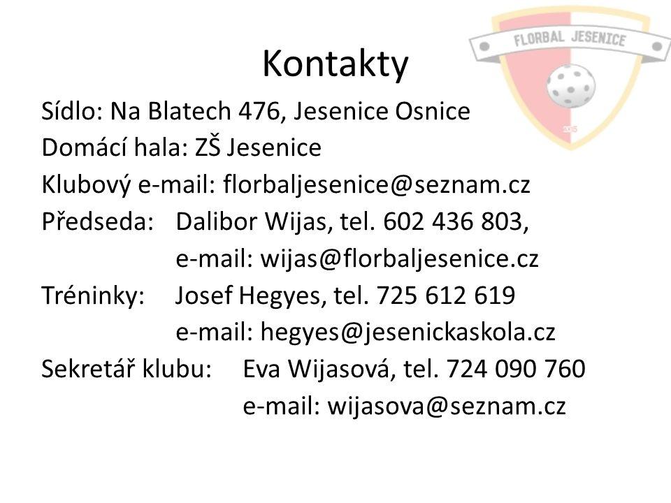 Kontakty Sídlo: Na Blatech 476, Jesenice Osnice Domácí hala: ZŠ Jesenice Klubový e-mail: florbaljesenice@seznam.cz Předseda: Dalibor Wijas, tel.