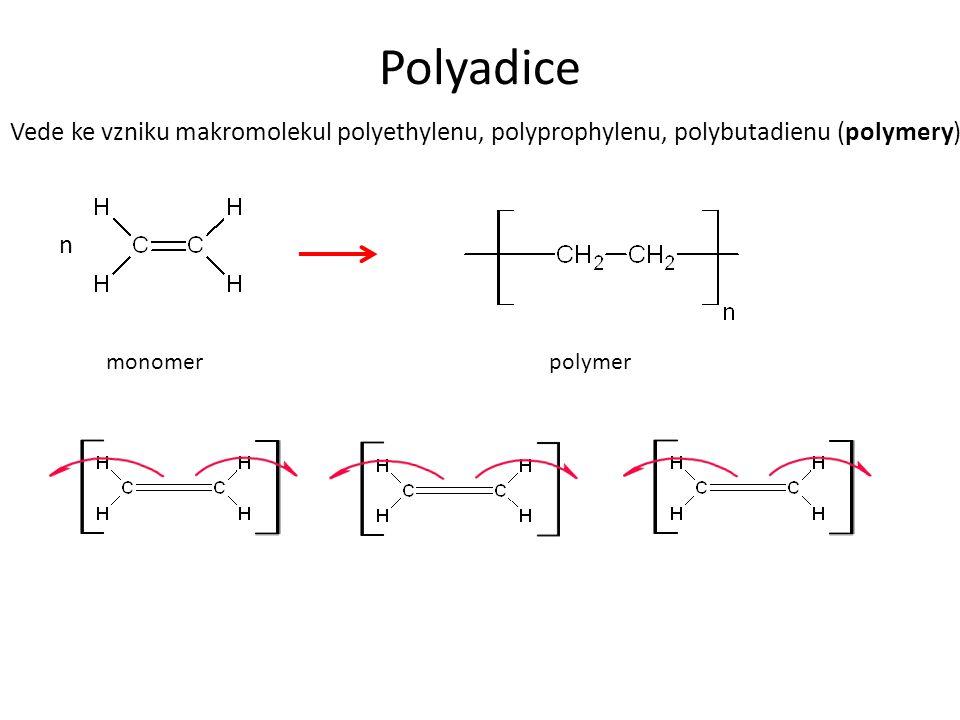 Polyadice Vede ke vzniku makromolekul polyethylenu, polyprophylenu, polybutadienu (polymery). monomerpolymer n