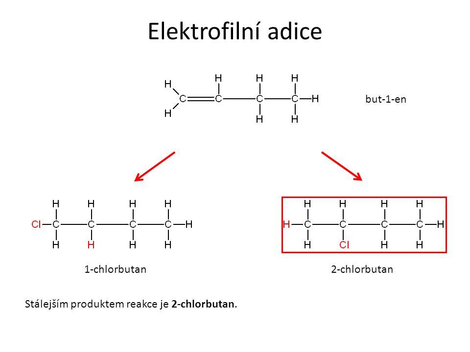 Elektrofilní adice 1-chlorbutan2-chlorbutan Stálejším produktem reakce je 2-chlorbutan. but-1-en