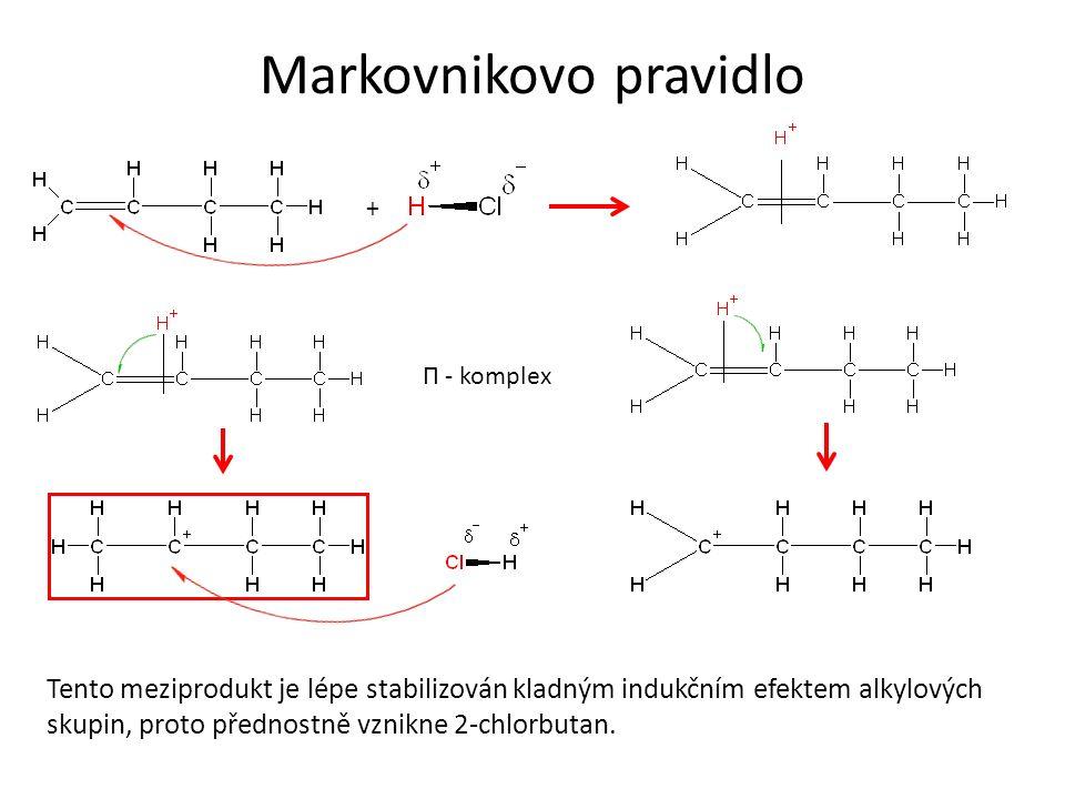 Markovnikovo pravidlo + Tento meziprodukt je lépe stabilizován kladným indukčním efektem alkylových skupin, proto přednostně vznikne 2-chlorbutan. Π -