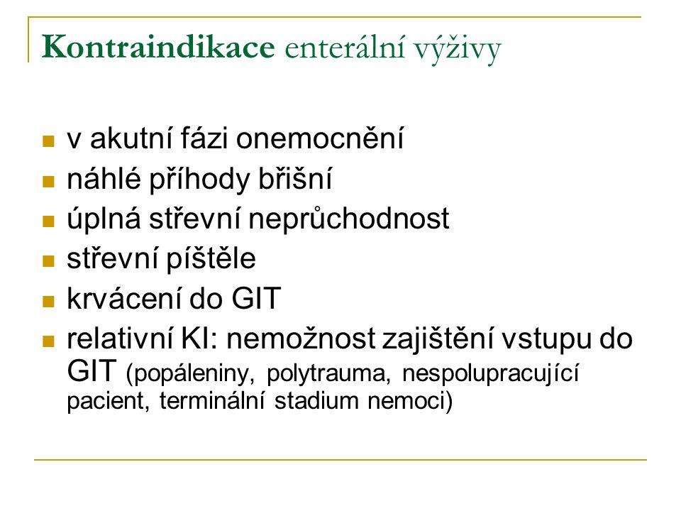 Kontraindikace enterální výživy v akutní fázi onemocnění náhlé příhody břišní úplná střevní neprůchodnost střevní píštěle krvácení do GIT relativní KI: nemožnost zajištění vstupu do GIT (popáleniny, polytrauma, nespolupracující pacient, terminální stadium nemoci)