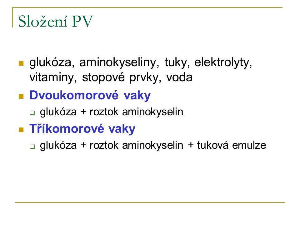 Složení PV glukóza, aminokyseliny, tuky, elektrolyty, vitaminy, stopové prvky, voda Dvoukomorové vaky  glukóza + roztok aminokyselin Tříkomorové vaky  glukóza + roztok aminokyselin + tuková emulze