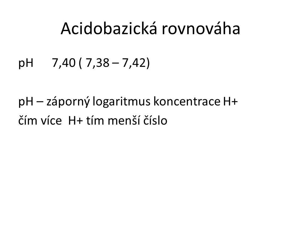 Acidobazická rovnováha pH 7,40 ( 7,38 – 7,42) pH – záporný logaritmus koncentrace H+ čím více H+ tím menší číslo