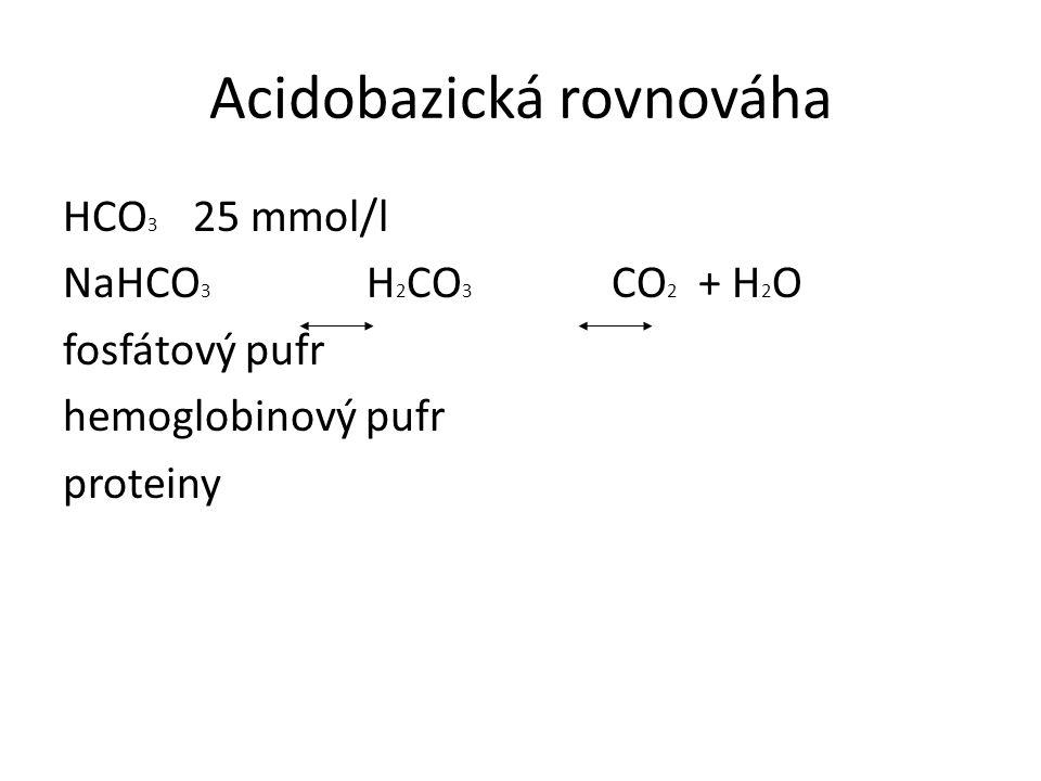 Acidobazická rovnováha HCO 3 25 mmol/l NaHCO 3 H 2 CO 3 CO 2 + H 2 O fosfátový pufr hemoglobinový pufr proteiny