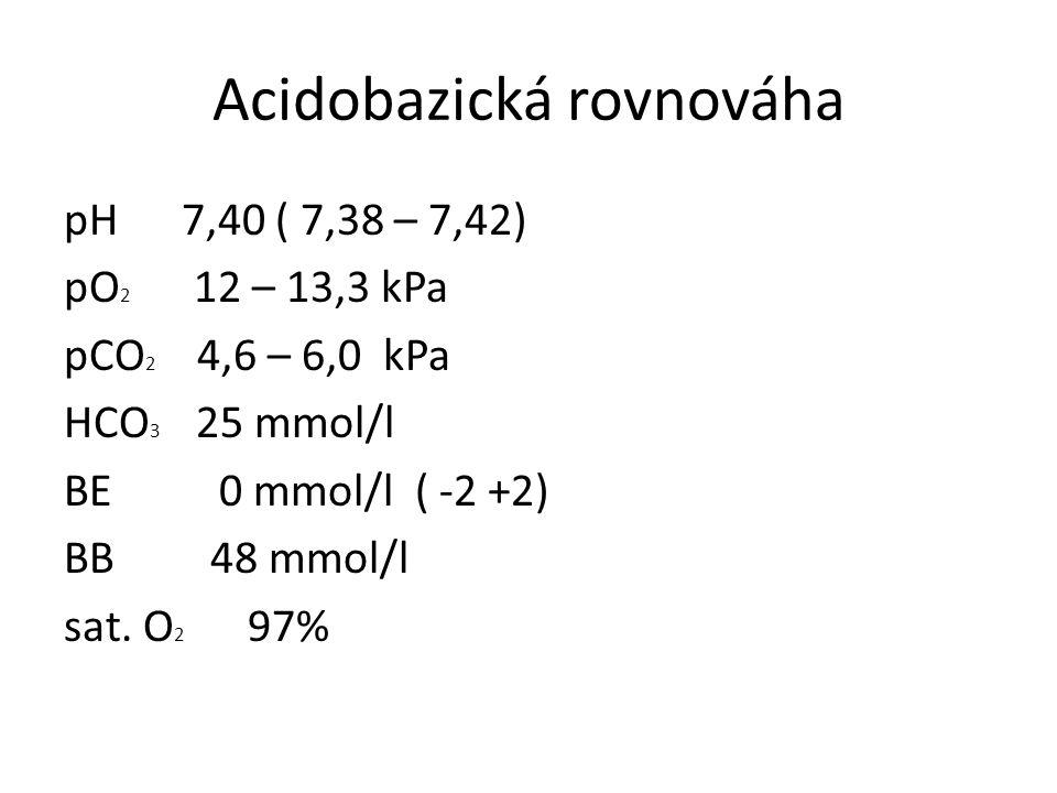 Acidobazická rovnováha pH 7,40 ( 7,38 – 7,42) pO 2 12 – 13,3 kPa pCO 2 4,6 – 6,0 kPa HCO 3 25 mmol/l BE 0 mmol/l ( -2 +2) BB 48 mmol/l sat. O 2 97%