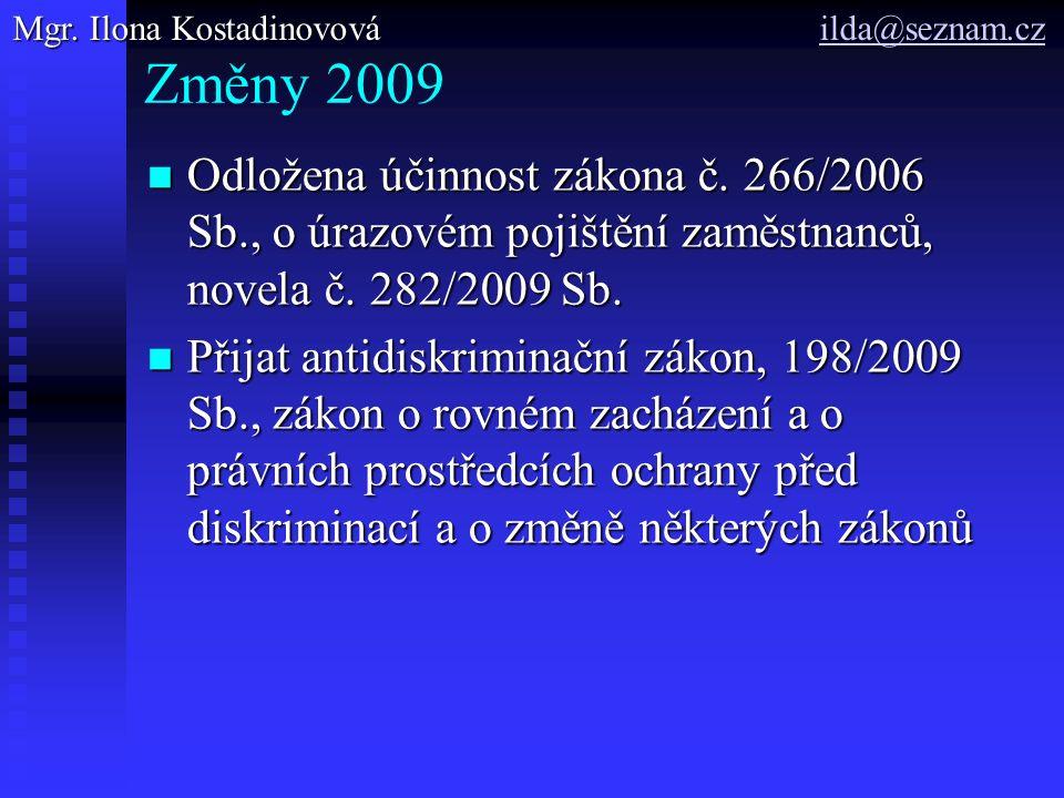 Změny 2009 Odložena účinnost zákona č. 266/2006 Sb., o úrazovém pojištění zaměstnanců, novela č.