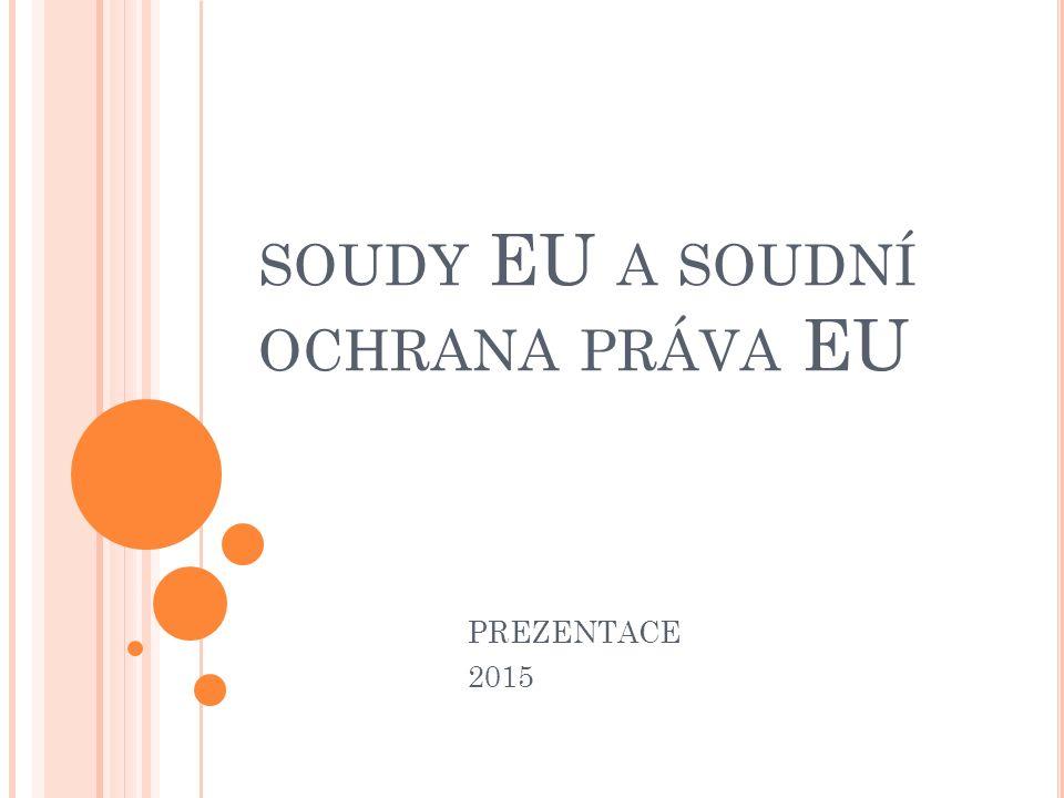 U NIJNÍ PŘEDPISY UPRAVUJÍCÍ OCHRANU SOUDY EU Předpisy upravující evropské soudní instituce SEU a SFEU (čl.