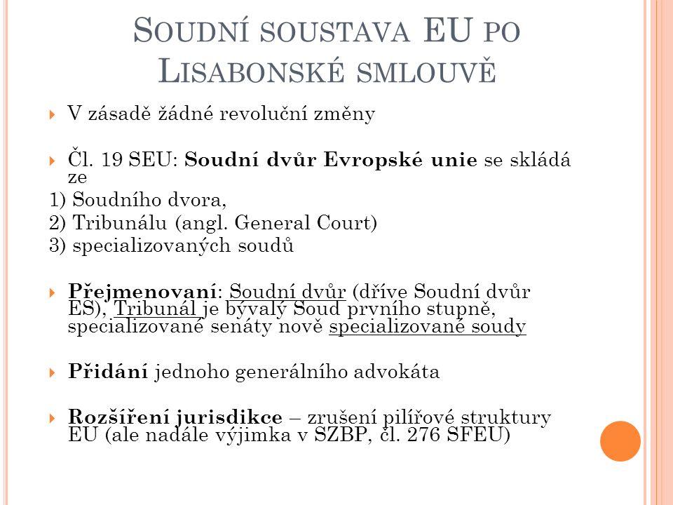 S OUDNÍ SOUSTAVA EU PO L ISABONSKÉ SMLOUVĚ  V zásadě žádné revoluční změny  Čl.