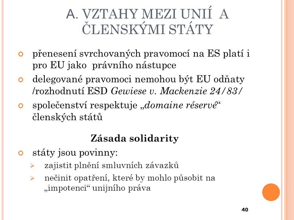 A. VZTAHY MEZI UNIÍ A ČLENSKÝMI STÁTY přenesení svrchovaných pravomocí na ES platí i pro EU jako právního nástupce delegované pravomoci nemohou být EU
