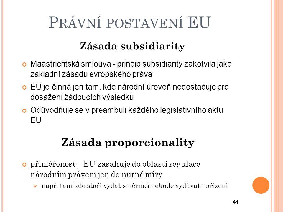 P RÁVNÍ POSTAVENÍ EU Zásada subsidiarity Maastrichtská smlouva - princip subsidiarity zakotvila jako základní zásadu evropského práva EU je činná jen tam, kde národní úroveň nedostačuje pro dosažení žádoucích výsledků Odůvodňuje se v preambuli každého legislativního aktu EU Zásada proporcionality přiměřenost – EU zasahuje do oblasti regulace národním právem jen do nutné míry  např.