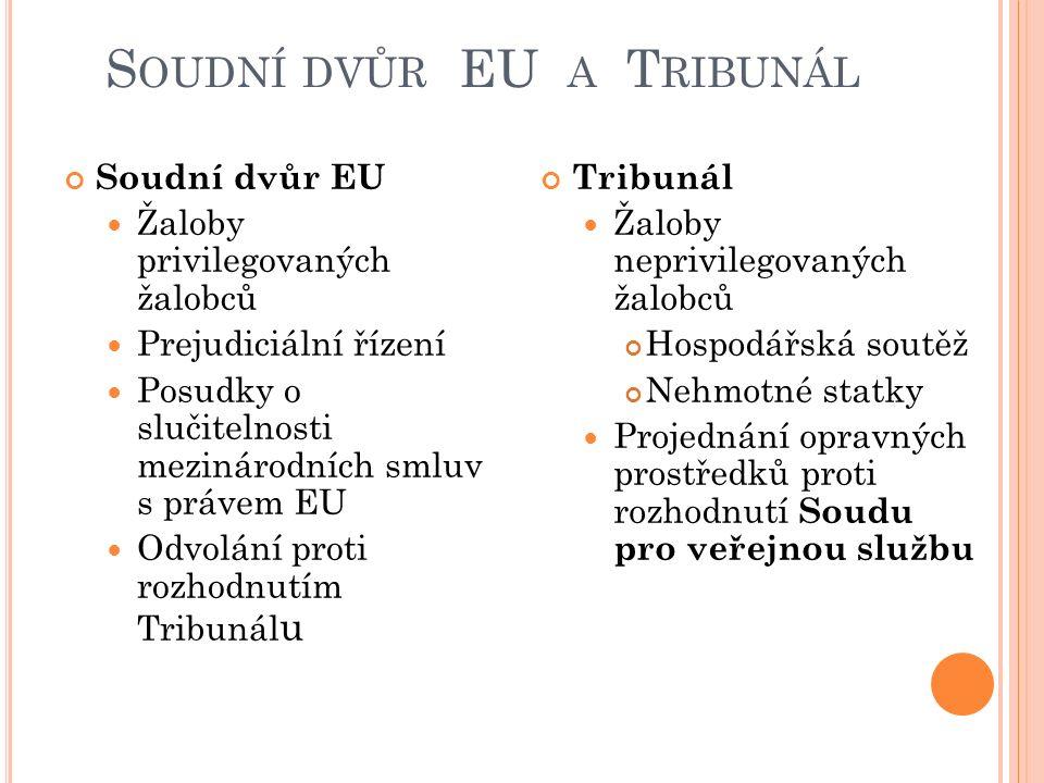 S OUDNÍ DVŮR EU A T RIBUNÁL Soudní dvůr EU Žaloby privilegovaných žalobců Prejudiciální řízení Posudky o slučitelnosti mezinárodních smluv s právem EU Odvolání proti rozhodnutím Tribunál u Tribunál Žaloby neprivilegovaných žalobců Hospodářská soutěž Nehmotné statky Projednání opravných prostředků proti rozhodnutí Soudu pro veřejnou službu