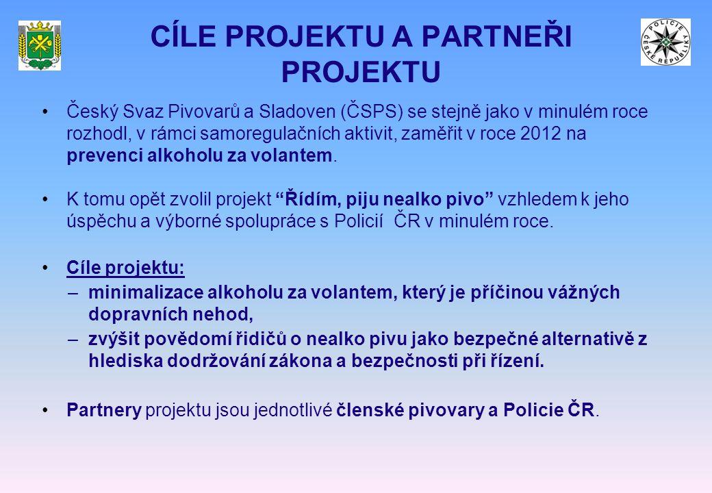 CÍLE PROJEKTU A PARTNEŘI PROJEKTU Český Svaz Pivovarů a Sladoven (ČSPS) se stejně jako v minulém roce rozhodl, v rámci samoregulačních aktivit, zaměřit v roce 2012 na prevenci alkoholu za volantem.