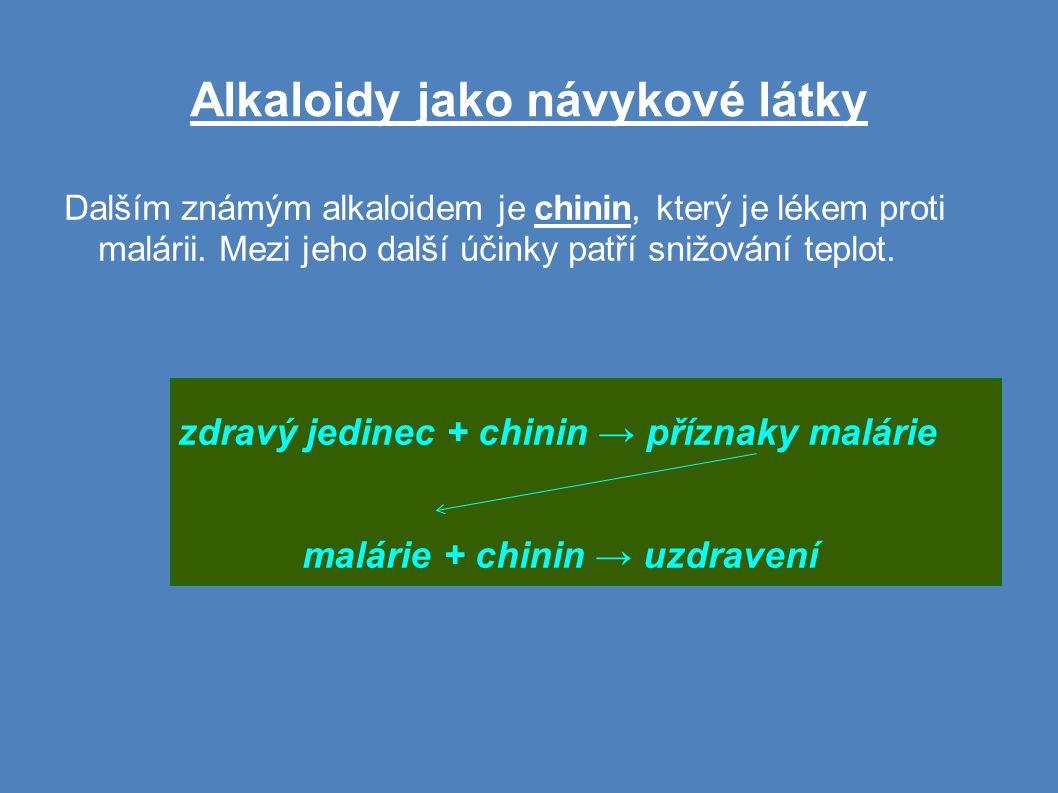 Alkaloidy jako návykové látky Dalším známým alkaloidem je chinin, který je lékem proti malárii.
