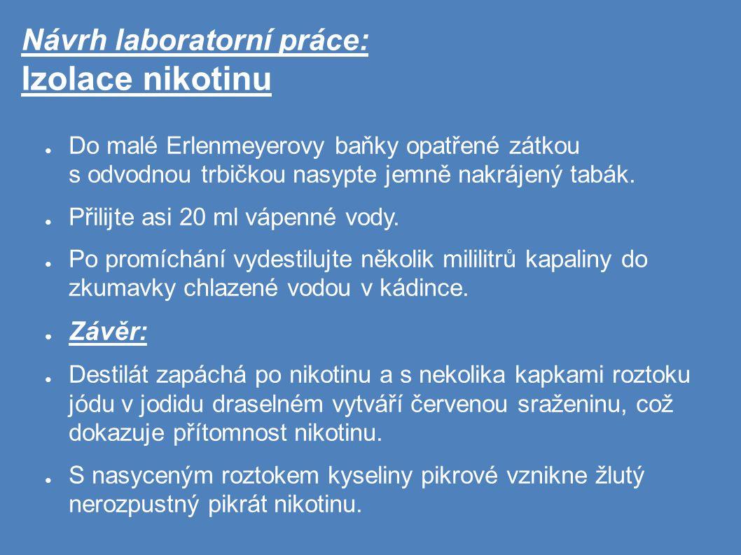 Návrh laboratorní práce: Izolace nikotinu ● Do malé Erlenmeyerovy baňky opatřené zátkou s odvodnou trbičkou nasypte jemně nakrájený tabák.