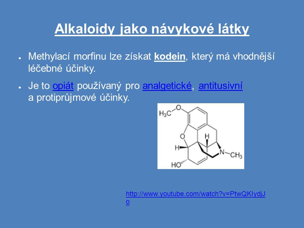 Alkaloidy jako návykové látky ● Methylací morfinu lze získat kodein, který má vhodnější léčebné účinky.