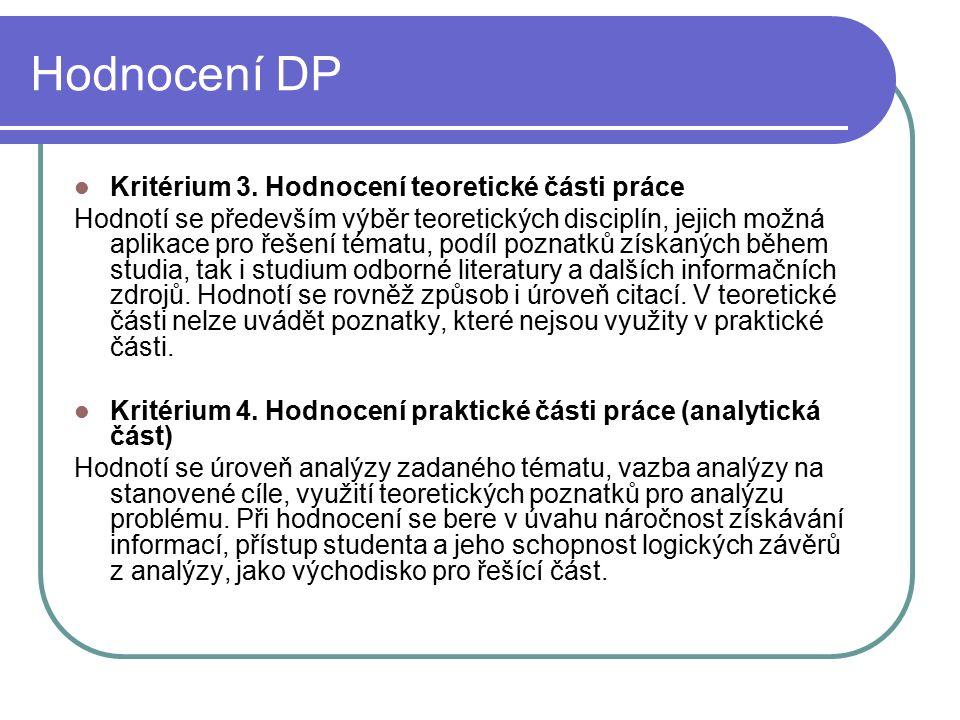Hodnocení DP Kritérium 3.