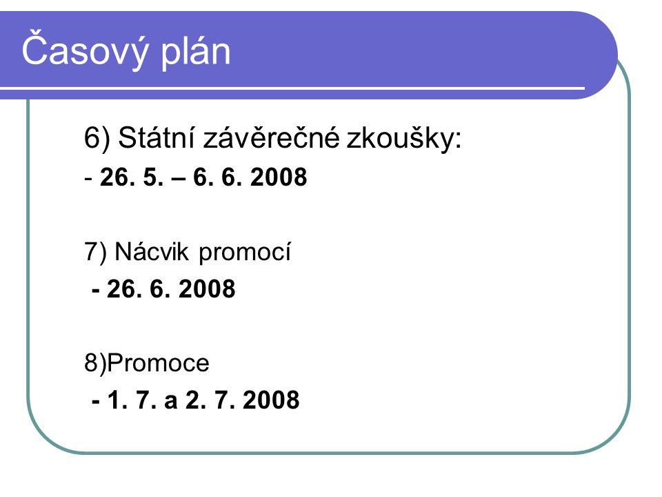 Časový plán 6) Státní závěrečné zkoušky: - 26. 5.