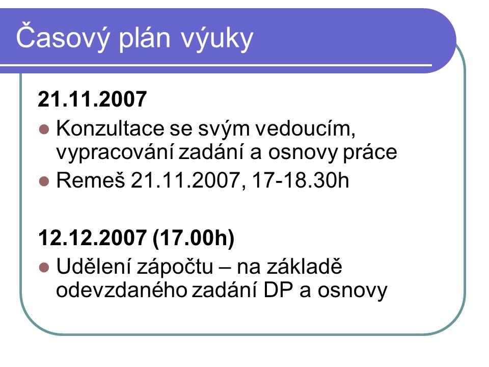 Časový plán výuky 21.11.2007 Konzultace se svým vedoucím, vypracování zadání a osnovy práce Remeš 21.11.2007, 17-18.30h 12.12.2007 (17.00h) Udělení zápočtu – na základě odevzdaného zadání DP a osnovy