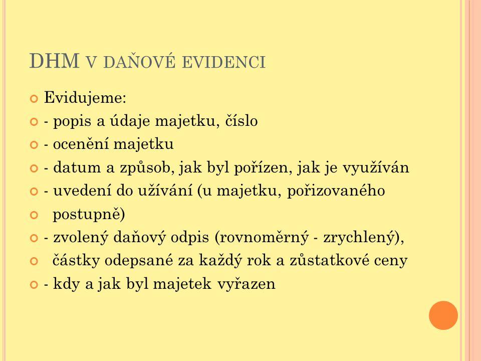 DHM V DAŇOVÉ EVIDENCI Evidujeme: - popis a údaje majetku, číslo - ocenění majetku - datum a způsob, jak byl pořízen, jak je využíván - uvedení do užív