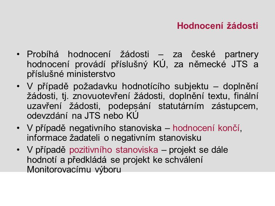 Hodnocení žádosti Probíhá hodnocení žádosti – za české partnery hodnocení provádí příslušný KÚ, za německé JTS a příslušné ministerstvo V případě požadavku hodnotícího subjektu – doplnění žádosti, tj.
