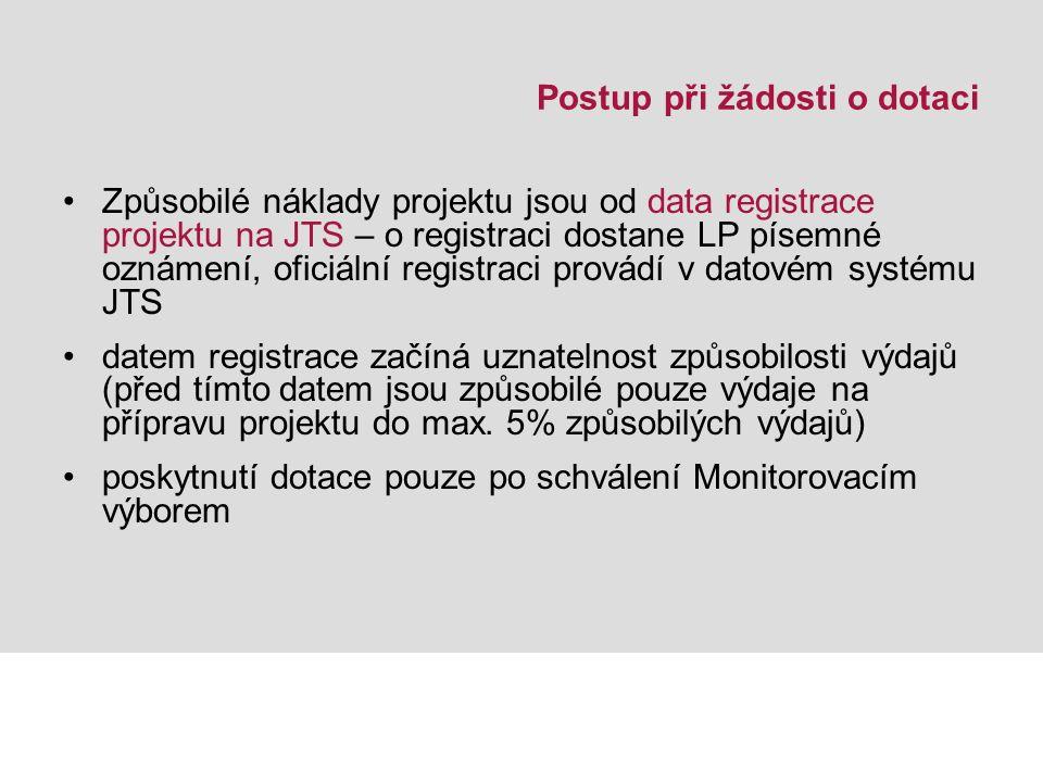 Postup při žádosti o dotaci Způsobilé náklady projektu jsou od data registrace projektu na JTS – o registraci dostane LP písemné oznámení, oficiální registraci provádí v datovém systému JTS datem registrace začíná uznatelnost způsobilosti výdajů (před tímto datem jsou způsobilé pouze výdaje na přípravu projektu do max.