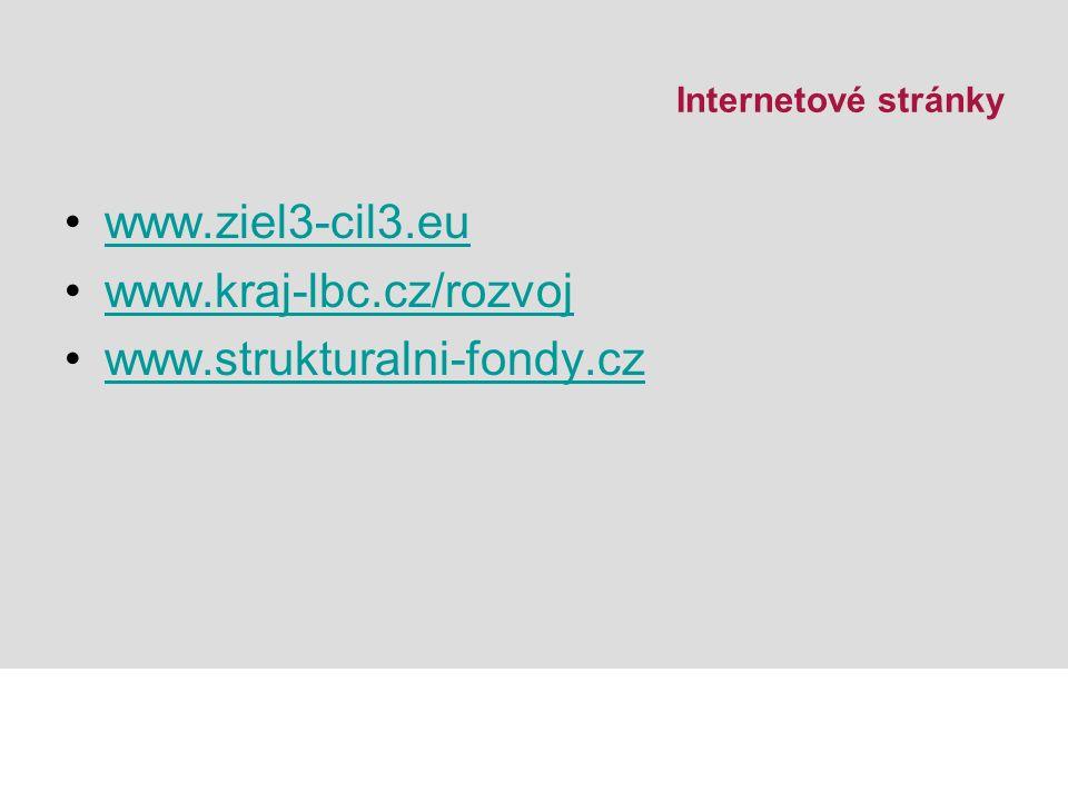 Internetové stránky www.ziel3-cil3.eu www.kraj-lbc.cz/rozvoj www.strukturalni-fondy.cz