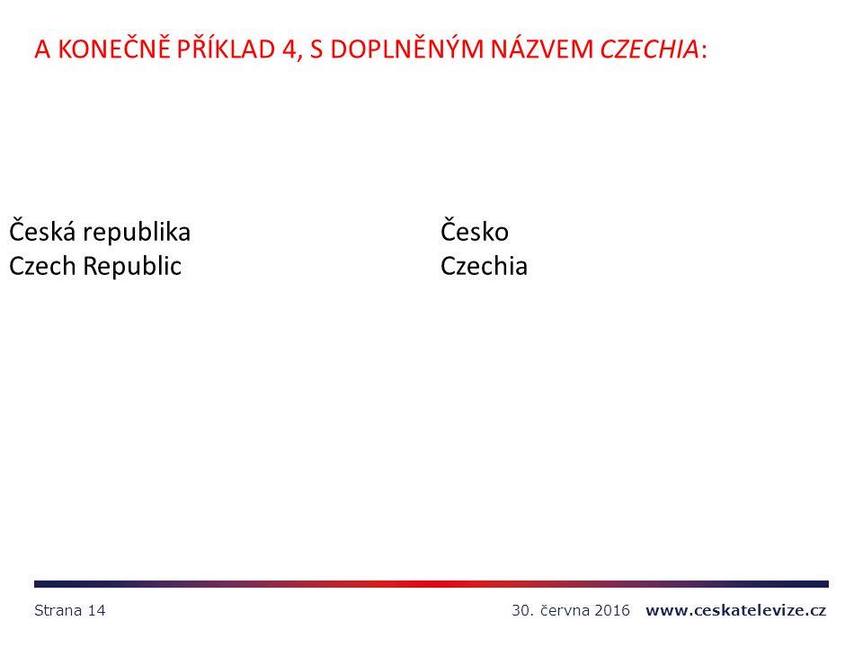 30. června 2016 www.ceskatelevize.czStrana 14 A KONEČNĚ PŘÍKLAD 4, S DOPLNĚNÝM NÁZVEM CZECHIA: Česká republikaČesko Czech RepublicCzechia