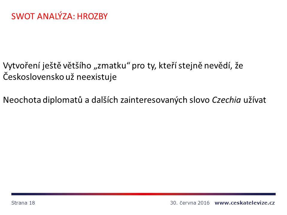 """30. června 2016 www.ceskatelevize.czStrana 18 SWOT ANALÝZA: HROZBY Vytvoření ještě většího """"zmatku"""" pro ty, kteří stejně nevědí, že Československo už"""