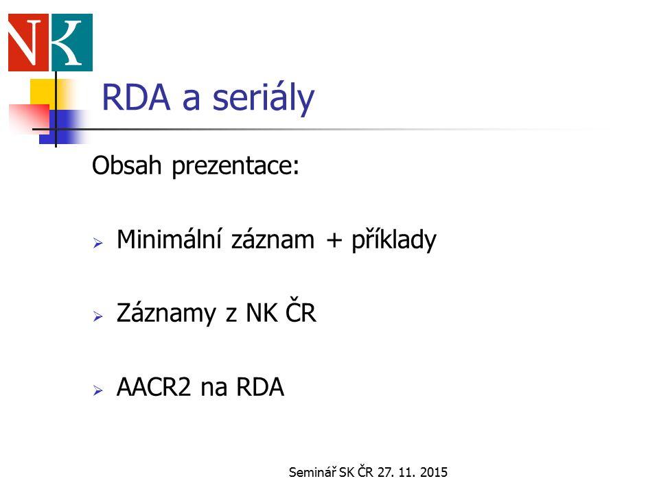Seminář SK ČR 27. 11.