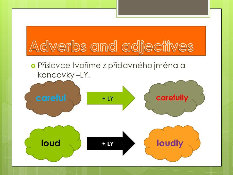  Příslovce tvoříme z přídavného jména a koncovky –LY. careful carefully loudlyloud + LY