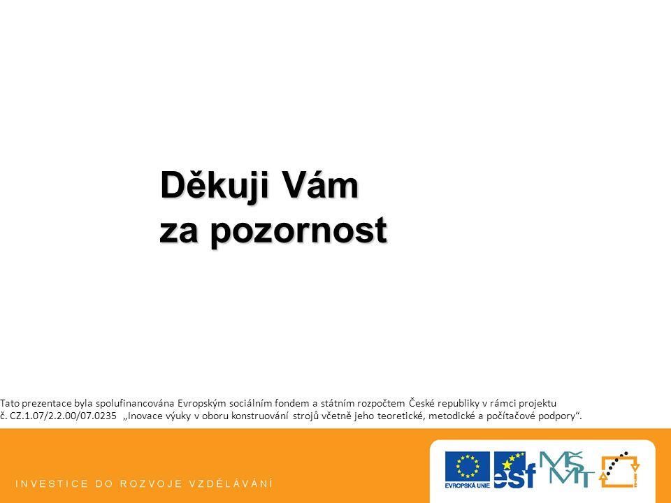 Děkuji Vám za pozornost Tato prezentace byla spolufinancována Evropským sociálním fondem a státním rozpočtem České republiky v rámci projektu č. CZ.1.