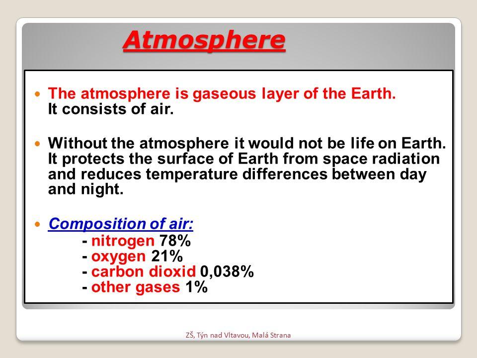 Atmosféra Atmosféra je plynný obal země.Je tvořena vzduchem.