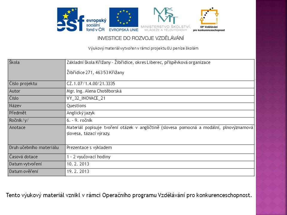 Výukový materiál vytvořen v rámci projektu EU peníze školám Škola Základní škola Křižany - Žibřidice, okres Liberec, příspěvková organizace Žibřidice 271, 463 53 Křižany Číslo projektu CZ.1.07/1.4.00/21.3335 Autor Mgr.