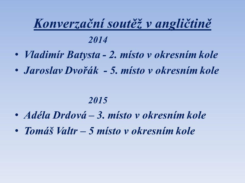 Konverzační soutěž v angličtině 2014 Vladimír Batysta - 2. místo v okresním kole Jaroslav Dvořák - 5. místo v okresním kole 2015 Adéla Drdová – 3. mís