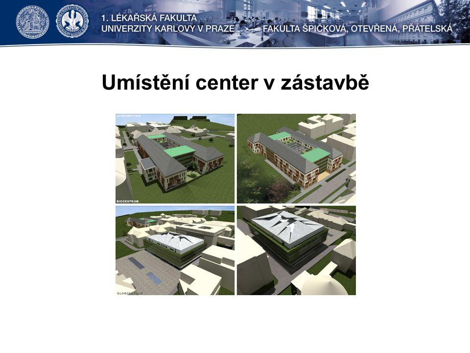 Umístění center v zástavbě