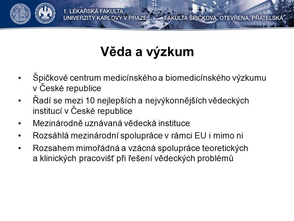 Věda a výzkum Špičkové centrum medicínského a biomedicínského výzkumu v České republice Řadí se mezi 10 nejlepších a nejvýkonnějších vědeckých institucí v České republice Mezinárodně uznávaná vědecká instituce Rozsáhlá mezinárodní spolupráce v rámci EU i mimo ni Rozsahem mimořádná a vzácná spolupráce teoretických a klinických pracovišť při řešení vědeckých problémů