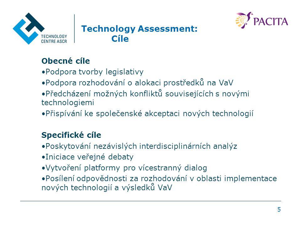 Technology Assessment: Cíle Obecné cíle Podpora tvorby legislativy Podpora rozhodování o alokaci prostředků na VaV Předcházení možných konfliktů souvisejících s novými technologiemi Přispívání ke společenské akceptaci nových technologií Specifické cíle Poskytování nezávislých interdisciplinárních analýz Iniciace veřejné debaty Vytvoření platformy pro vícestranný dialog Posílení odpovědnosti za rozhodování v oblasti implementace nových technologií a výsledků VaV 5
