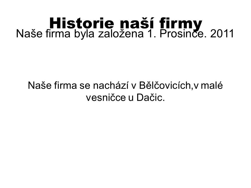 Historie naší firmy Naše firma byla založena 1. Prosince. 2011 Naše firma se nachází v Bělčovicích,v malé vesničce u Dačic.